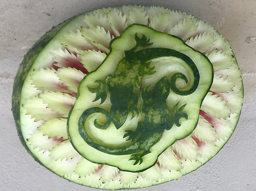 Watermelon carving of SOBE company logo