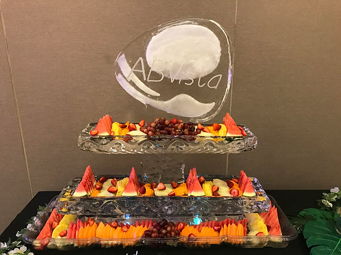 Two Tier Ice Platters with Logo and Assorted Fruits