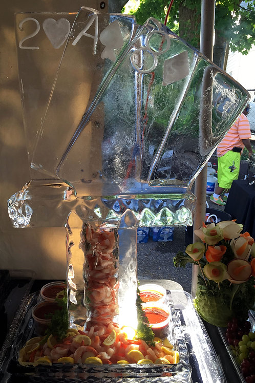 Shrimp tower with playing cards and platter