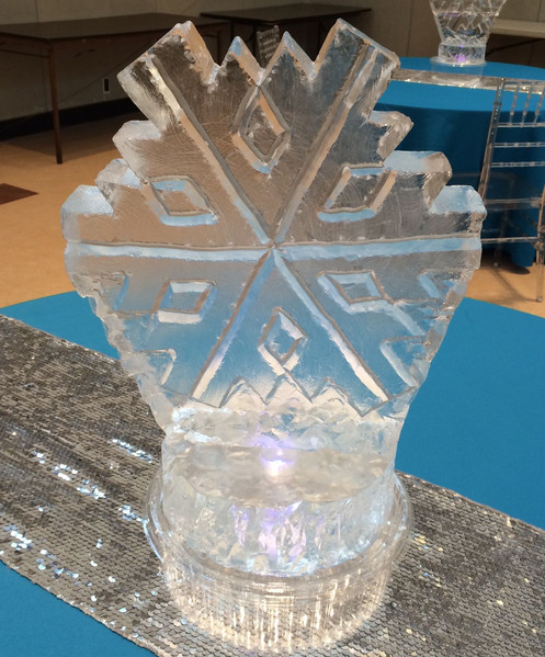 Snowflake ice centerpiece