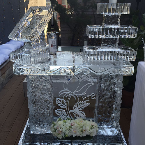 Four feet Ice Bar with Three Tier Platters and Ice Luge