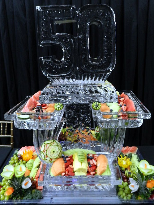 50 with three tier platters, assorted fruit display and vegetable carving