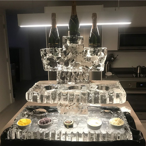 Three tier caviar and champagne station