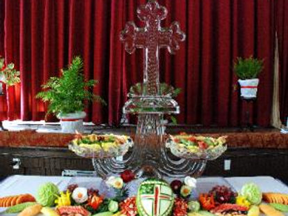 Two Tier Platters with Cross and Fruit Display