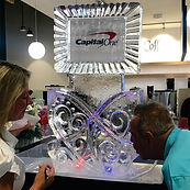 Double shot ice luge with capital one logo