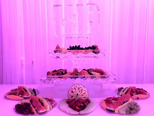Two tier ice platters with LYA and assorted fruit display