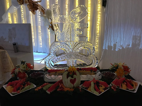 LOVE with Hearts, Names, Ice Platter and Fruit Display.