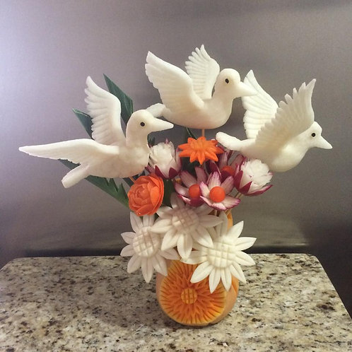 Doves in Flight Vegetable Carving Centerpiece