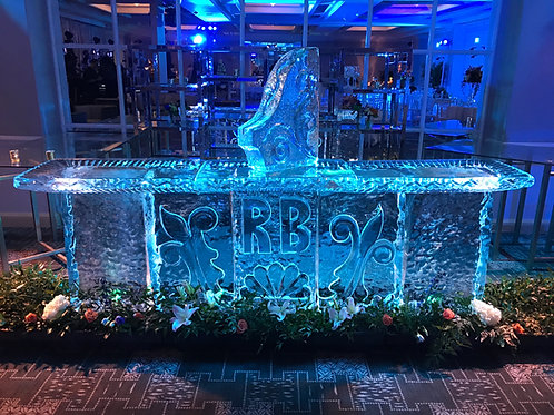 Ten feet wide Ice Bar with Initials and Shot luge