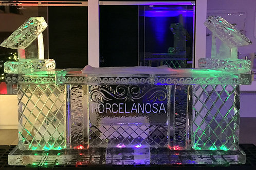 8 ft. ice bar with company name and two shot luges