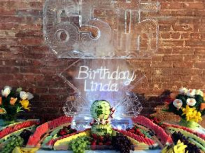 65th with trio of diamond and assorted fruit display