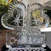 Hearts in duet with names ice sculpture