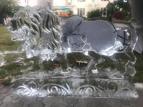 Large Male Lion Ice Sculpture