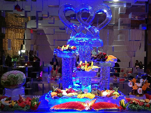 Interlocking Hearts with Four Tier Platters and Fruit Display