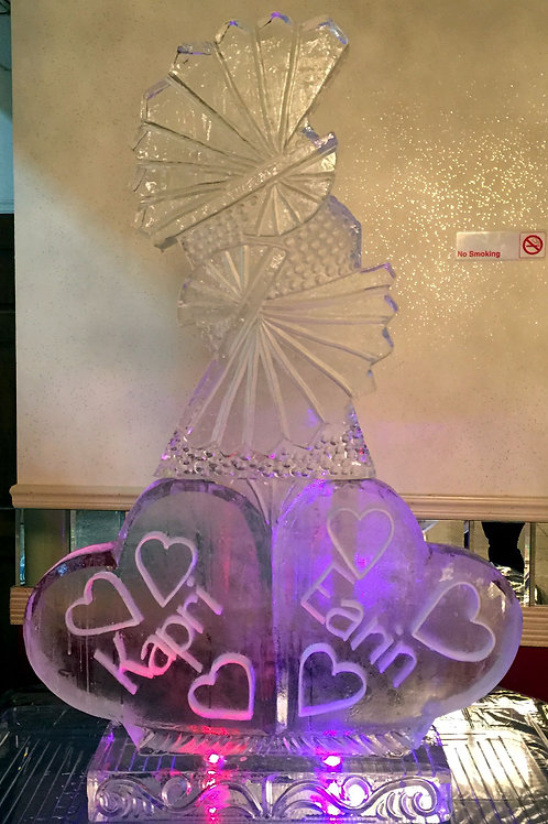 Wedding Theme Fans with Hearts and Names