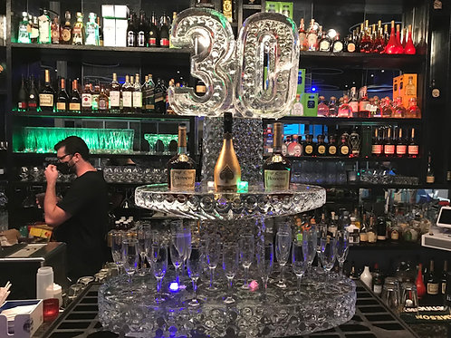 Two tier ice champagne station with 30 on top