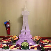 Eifel tower ice sculpture with fruit display