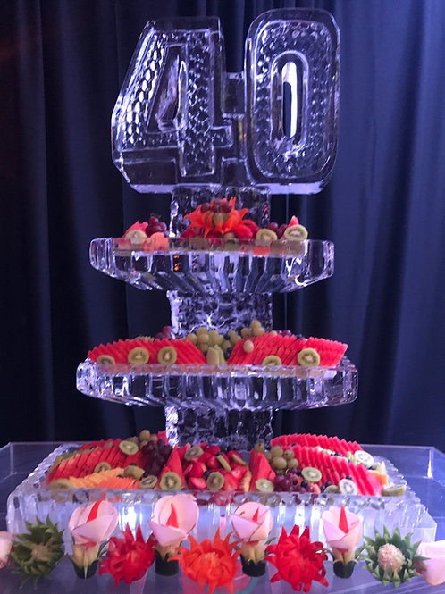 Three tier platters with 40, assorted fruits and vegetable carving display