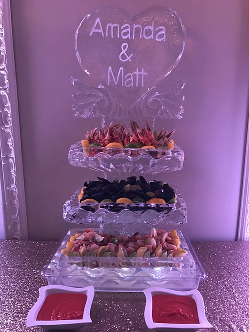 Three Tier Ice Platters with Heart & Names
