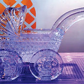 Baby carriage ice sculpture