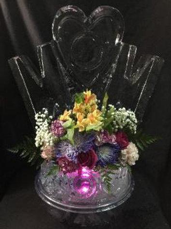 MOM table top centerpiece flower vase