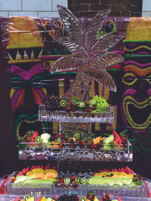 Three tier ice platters with palm tree and fruit display
