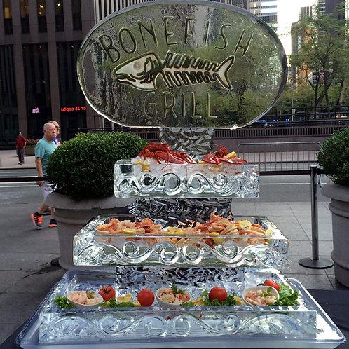 Three Tier Ice Platters with Bonefish Grill Restaurant Logo