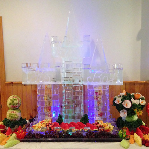 Ice castle with pyramid peaks fruit salad tower
