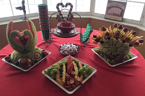 Trio of platters fruit display