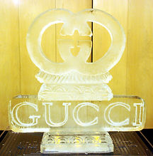 Gucci logo ice sculpture