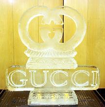 Gucci logo ice sculpture