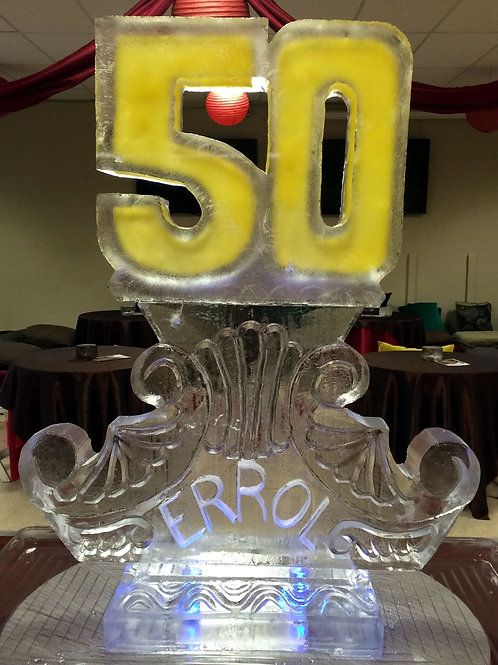 Colored 50 with decorative pillar and name