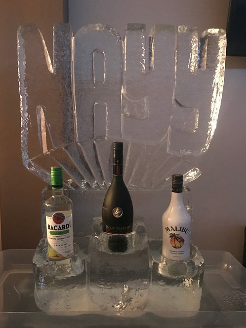 NAYY's Birthday Party Ice Sculpture with Three Bottle Holders