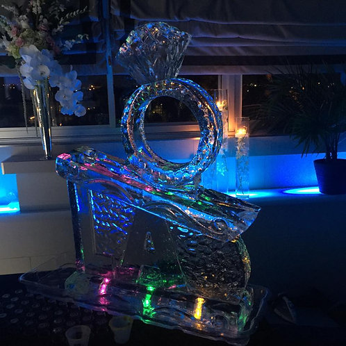 Double Channel Luge with Initials and Diamond Ring