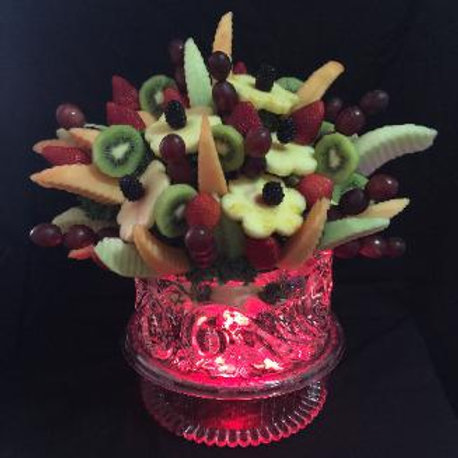 Fruit bouquet in ice bowl table centerpiece