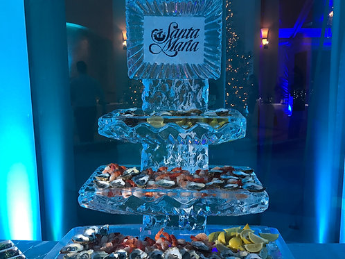Three tier ice platters with logo