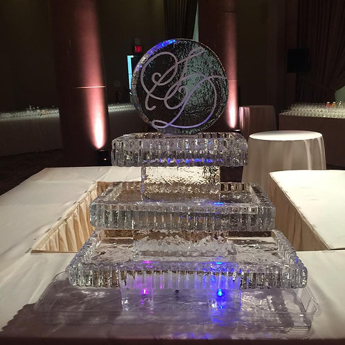 Three tier Ice platters with initials on top for seafood, fruit display and more