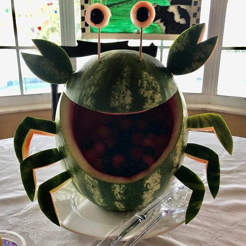 Watermelon carving of crab
