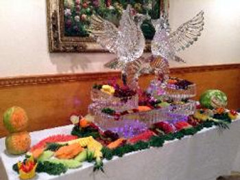 Love Birds with heart, three tier platters and fruit display