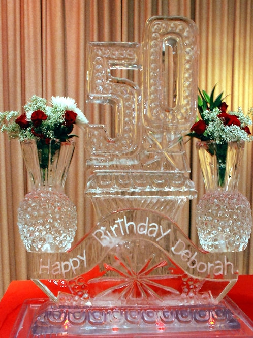 Offset 50 with two crystal vases and banner