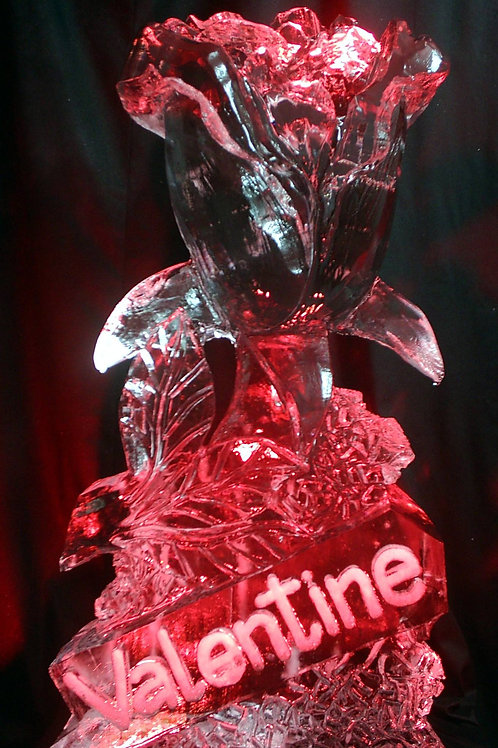 Valentine's day ice sculpture of rose