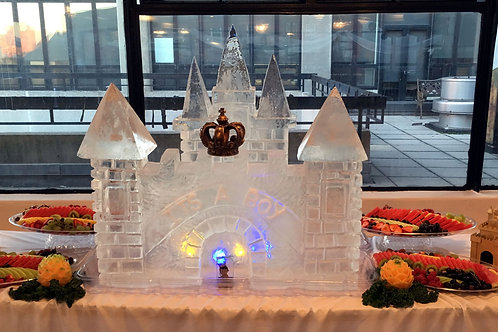 Ice Castle with its a boy and fruit display