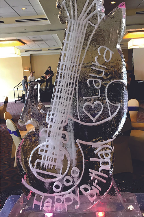 Prince's guitar with banner