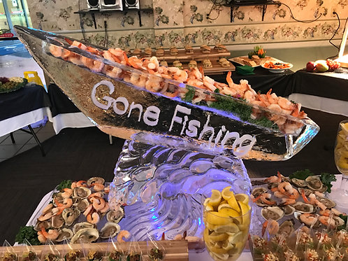 Boat on wave for seafood display