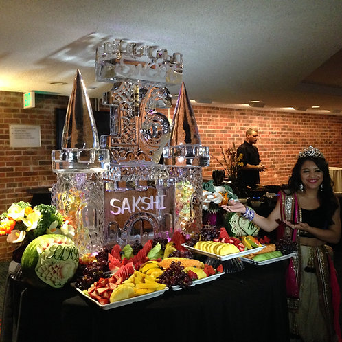 Sweet 16 ice castle with fruit display