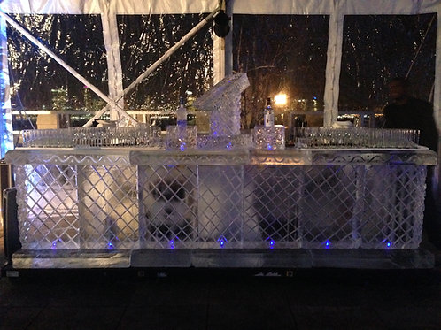 Ten feet ice bar with diamond patterns, bottle holders and a small ice luge