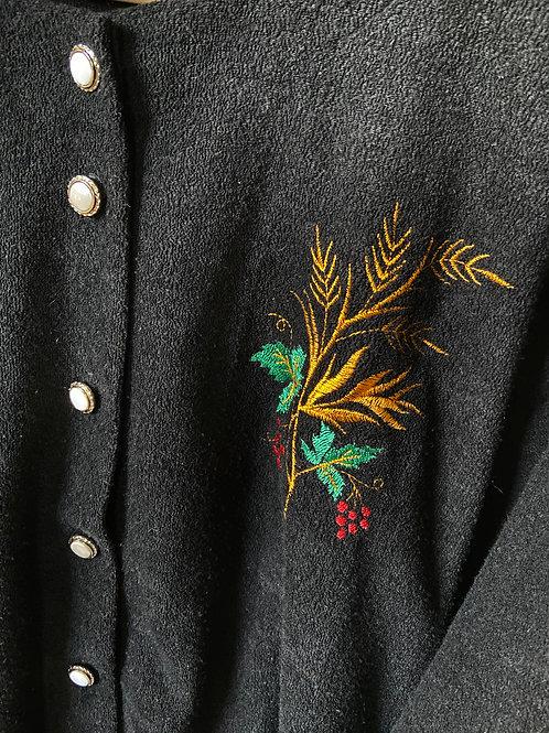 Vintage Black Embroidered Cardigan