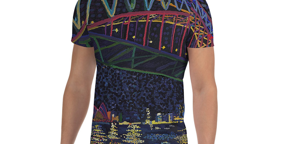 Sydney Harbour Night Vivid All-Over Print Men's Sports T-shirt