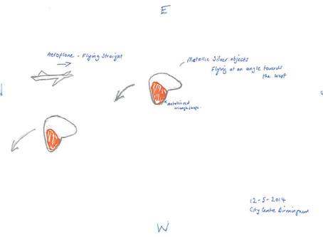 12/05/2014 – Birmingham – Silver & Red Boomerang UFOs Sighting