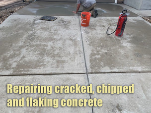 Repairing cracked, chipped and flaking concrete